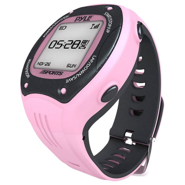 Pyle Sports Digital LED ANT+ E-compass GPS Navigation Pink Sports Training Watch
