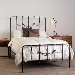 Iron and Brass Scrolled Metal King Bed
