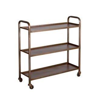 Refurbished Cameron Antique Copper-finished 3-shelf Steel Cart (India)