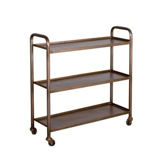 Cameron Antique Copper-finished 3-shelf Steel Cart (India)