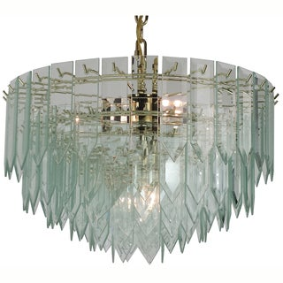 7-light Polished Brass/ Clear Spear Glass Chandelier