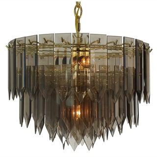 5-light Polished Brass/ Smoked Spear Glass Chandelier