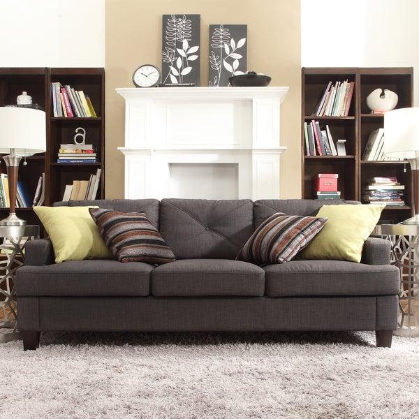 INSPIRE Q Elston Dark Grey Linen Tufted Sloped Track Sofa