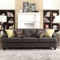 INSPIRE Q Elston Dark Grey Linen Tufted Sloped Track Sofa