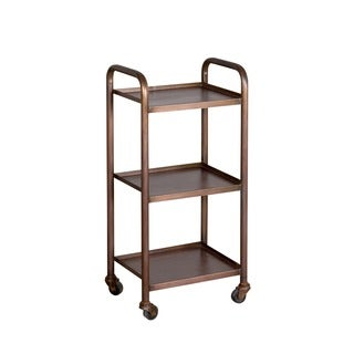 Refurbished Small Cameron Antique Copper-finished 3-shelf Steel Cart (India)