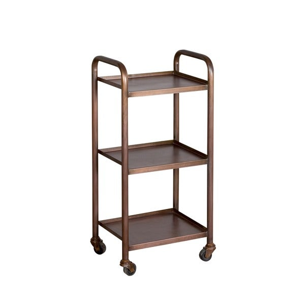 Small Cameron Antique Copper finished 3 shelf Steel Cart  India   16087016  Overstock com
