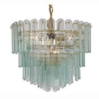 9-light Polished Brass/ Rounded Glass Contemporary Chandelier