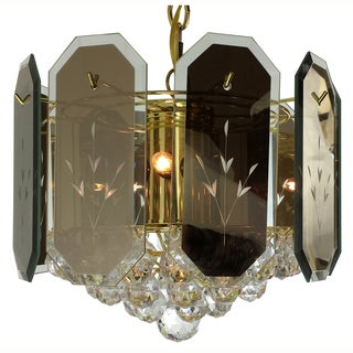 6-light Reflex Panels/ Gems Polished Brass Chandelier