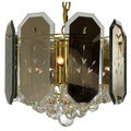 7-light Reflex Panels/ Gems Polished Brass Chandelier