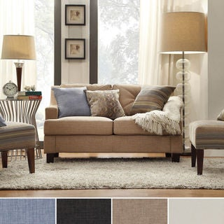 Inspire Q Cameron Light Brown Fabric Tufted Sloped Arm Loveseat