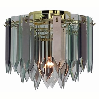 1-light Polished Brass/ Spear Glass Contemporary Flush Mount