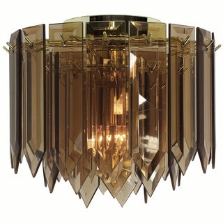 1-light Polished Brass/ Amber Spear Glass Contemporary Flush Mount