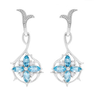 Sterling Silver Marquis-cut Topaz and Cubic Zirconia Flower Dangle Earrings