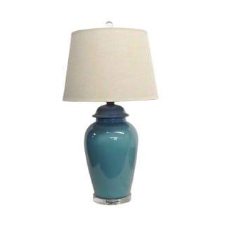 1 Light Teal Temple Jar Porcelain Table Lamp Overstock Shopping Great Dea