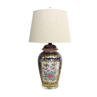 1-light Royal Medallion Temple Jar Porcelain Lamp
