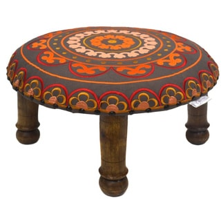 Hand-emboirdered Tangerine/ Red Floral Footstool (India)