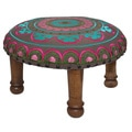 Hand-embroidered Magenta/ Teal Floral Footstool (India)
