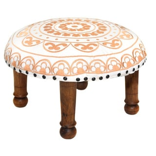 Hand-embroidered Peach Floral Footstool (India)