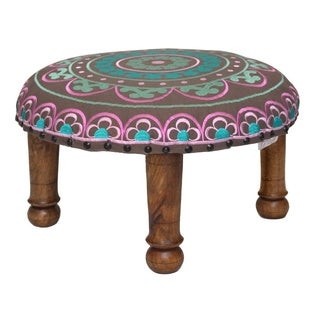 Hand-embroidered Pink/ Teal Floral Footstool (India)
