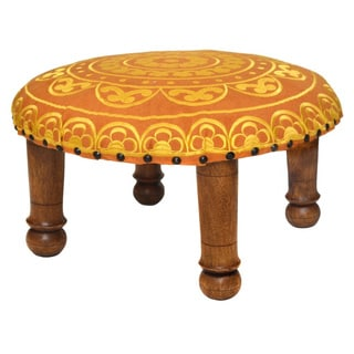 Hand-embroidered Yellow Floral Footstool (India)