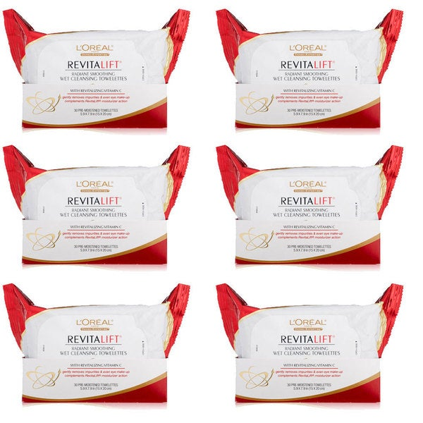 L'Oreal Paris RevitaLift Radiant Smoothing 30-count Wet Cleansing Towelettes (Pack of 6)