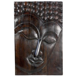 Hand-carved Serene Buddha Chestnut-finished Wood Panel (Thailand)