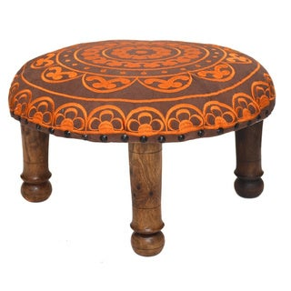 Hand-embroidered Tangerine Floral Footstool (India)