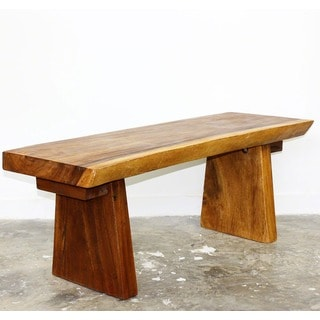 Hand-carved Natural Edge Acacia Wood Bench (Thailand)