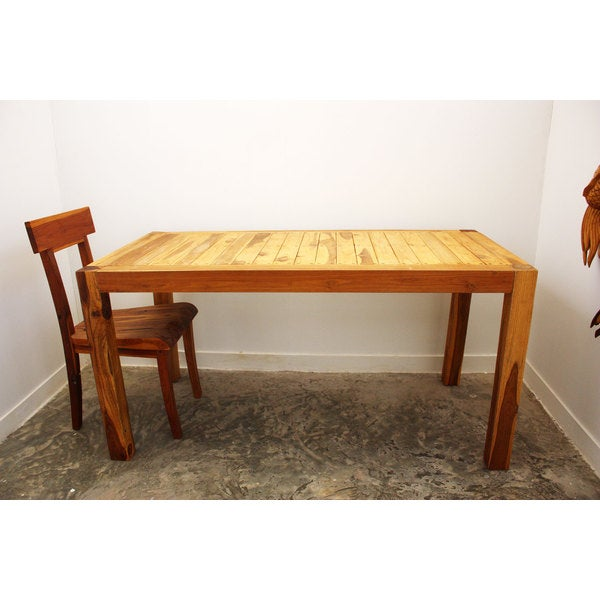 crafted 60 inch wide teak inlay kitchen table
