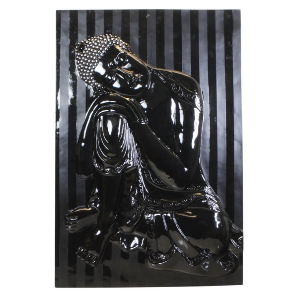 Hand-carved Resting Buddha Black Lacquer Finish Wall Hanging (Vietnam)