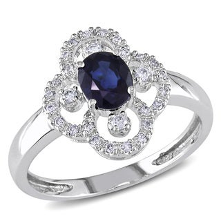 Miadora Signature Collection 14k White Gold Sapphire and 1/6ct TDW Diamond Cocktail Ring (G-H, I1-I2)