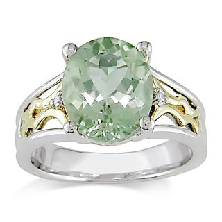 Miadora Silver and 10k Yellow Gold Green Amethyst and Diamond Cocktail Ring