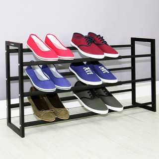 Samsonite Black Expandable 3-tier Steel Shoe Rack