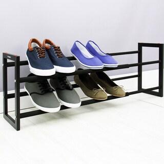 Samsonite Black Expandable 2-tier Steel Shoe Rack