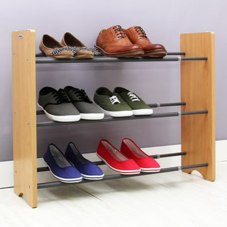Samsonite Grey Wood Ends Expandable 3-tier Shoe Rack
