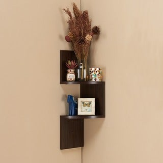 Zig Zag Design Laminated Wooden Corner Wall Shelf, Walnut Brown