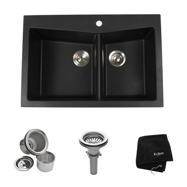 Kraus 33 1/2 inch Dual Mount 60/40 Double Bowl Black Onyx Granite Kitchen Sink