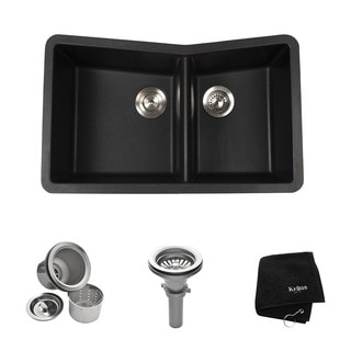 Kraus 33 inch Undermount 60/40 Double Bowl Black Onyx Granite Kitchen Sink