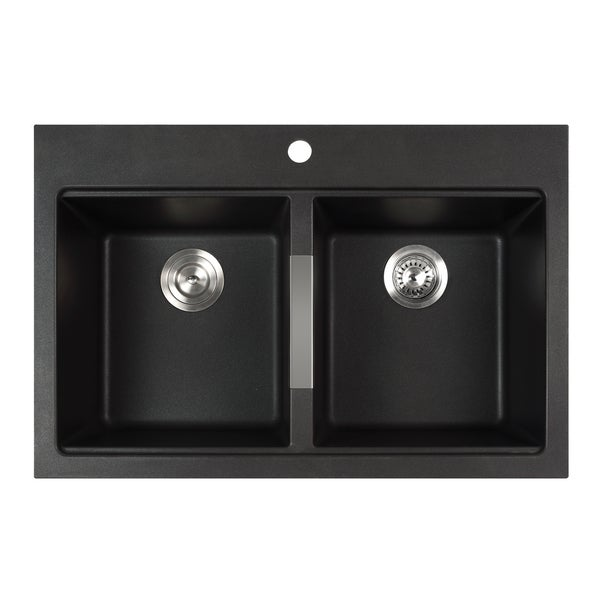 Black Double Sink Kitchen : inch Dual Mount 50/50 Double Bowl Black Onyx Granite Kitchen Sink ...
