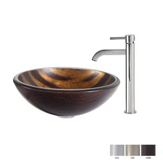 Kraus Bastet Glass Vessel Sink and Ramus Faucet
