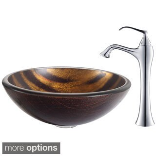 Kraus Bastet Glass Vessel Sink and Ventus Faucet