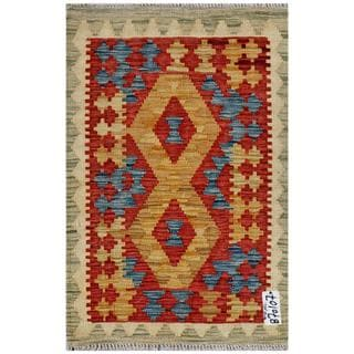 Afghan Hand-woven Kilim Red/ Gold Wool Rug (2' x 3')