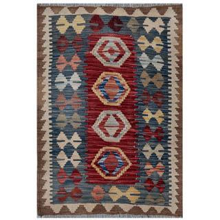 Afghan Hand-woven Kilim Red/ Blue Wool Rug (2'1 x 2'11)