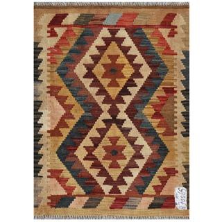 Afghan Hand-woven Kilim Brown/ Gold Wool Rug (2'1 x 2'10)
