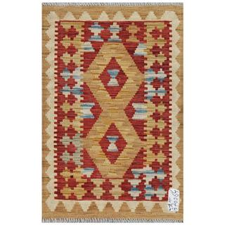 Afghan Hand-woven Kilim Red/ Gold Wool Rug (1'11 x 2'11)