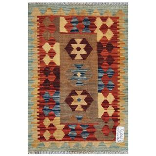 Afghan Hand-woven Kilim Red/ Gold Wool Rug (2' x 2'11)