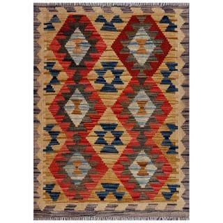 Afghan Hand-woven Kilim Gold/ Red Wool Rug (2'1 x 2'11)