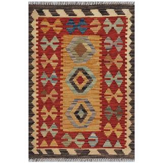 Afghan Hand-woven Kilim Gold/ Red Wool Rug (2'1 x 3')