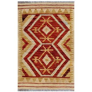 Afghan Hand-woven Kilim Red/ Gold Wool Rug (2' x 3'2)