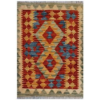 Afghan Hand-woven Kilim Red/ Gold Wool Rug (2'2 x 2'10)